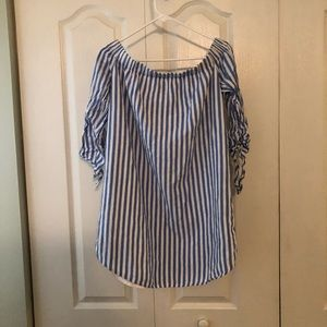 Off the shoulder blue and white striped dress